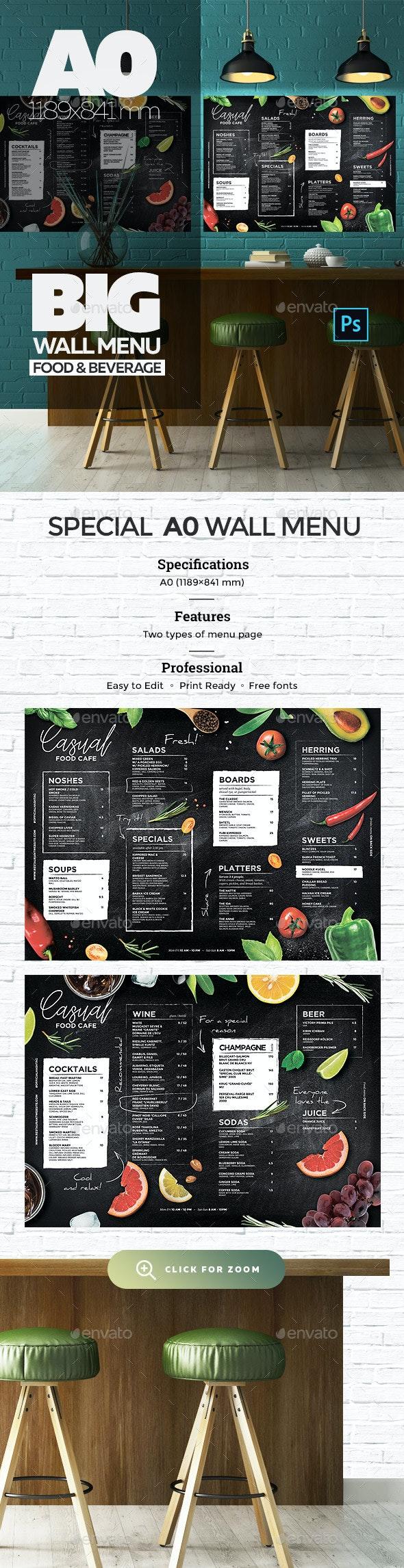 Chalkboard Wall Menu - Food Menus Print Templates