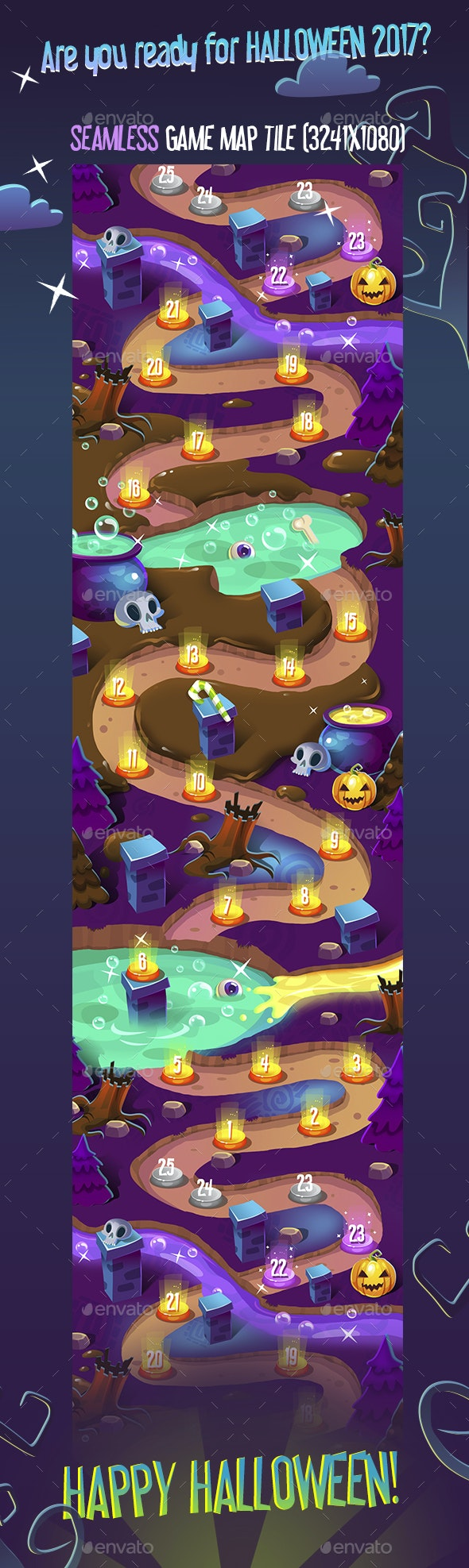 Seamless Halloween Dark Game Map - Tilesets Game Assets