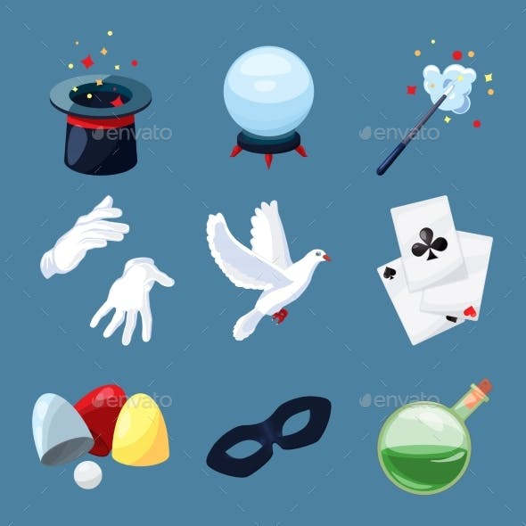 Magician Icons Set. Surprise Vector Illustrations