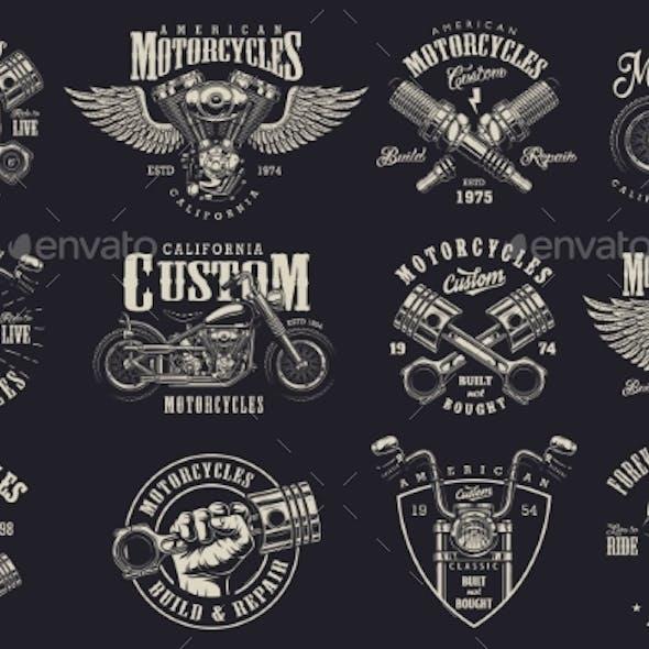 Set of Custom Motorcycle Emblems