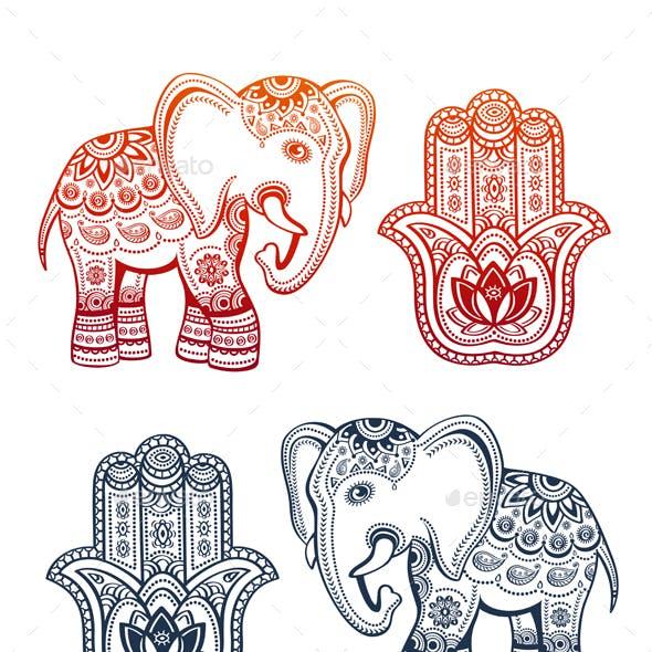 Indian Ethnic Elephant and Hamsa Hand
