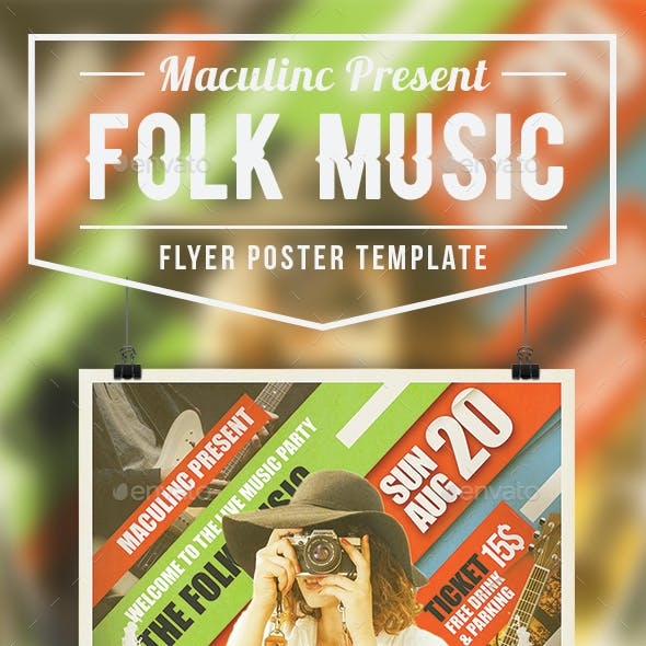 Folk Music Flyer/Poster Vol.3