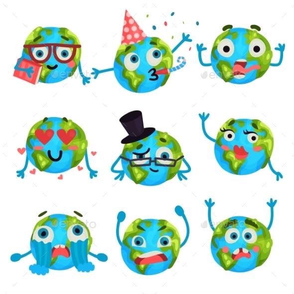 Cartoon Earth Planet Emoji with Different Emotions