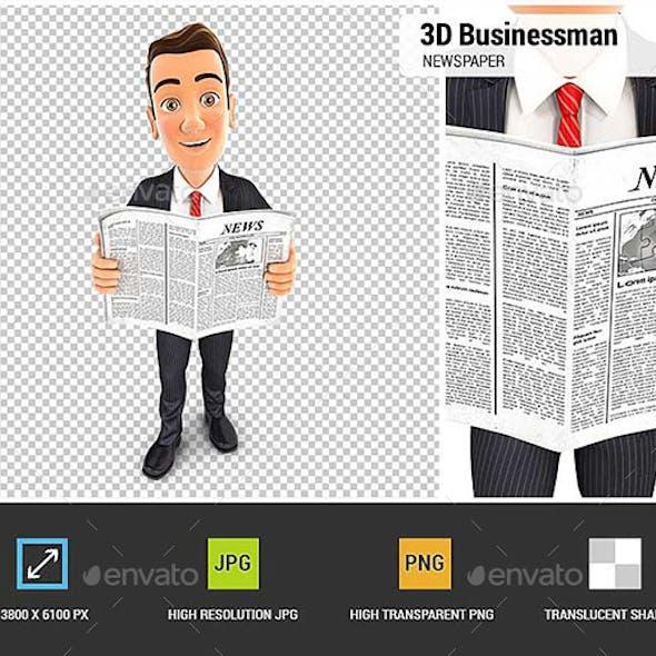 3D Businessman Newspaper