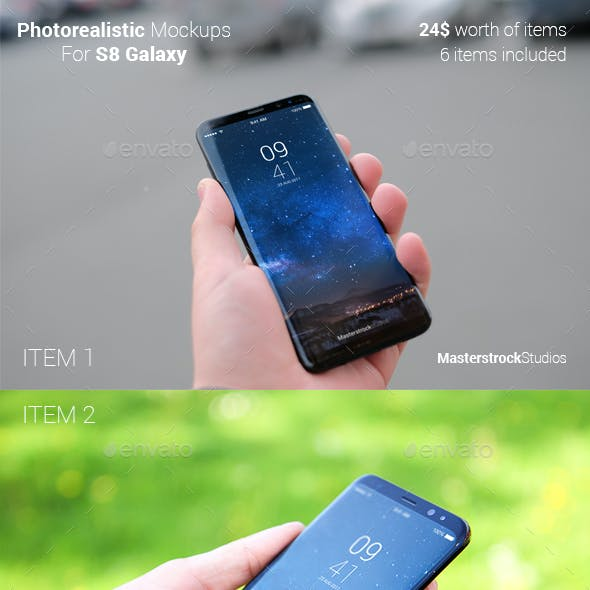 Bundle - 6 Photorealistic S8 Phone Mockups
