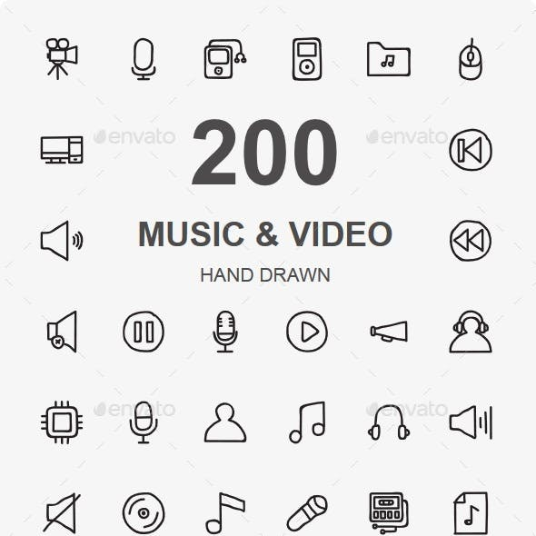 Music Audio And Video Hand Drawn icons