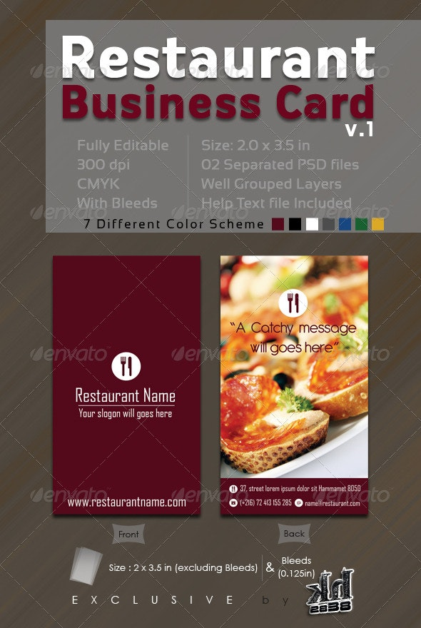 Restaurant  Business Card V.1 - Industry Specific Business Cards