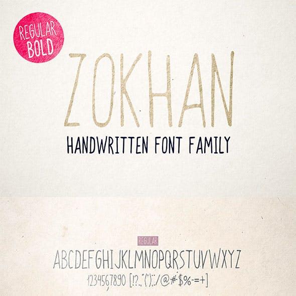 Zokhan - Handwritten Font Family