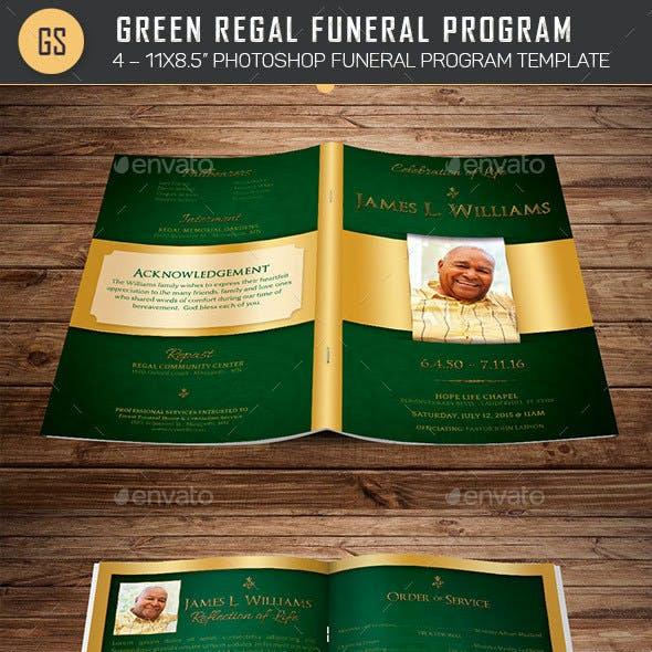 Green Regal Funeral Program Template