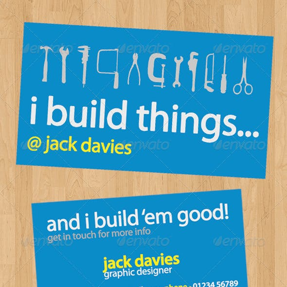 I Build Things - Clean Business Card - Print Ready
