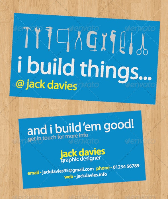 I Build Things - Clean Business Card - Print Ready - Creative Business Cards