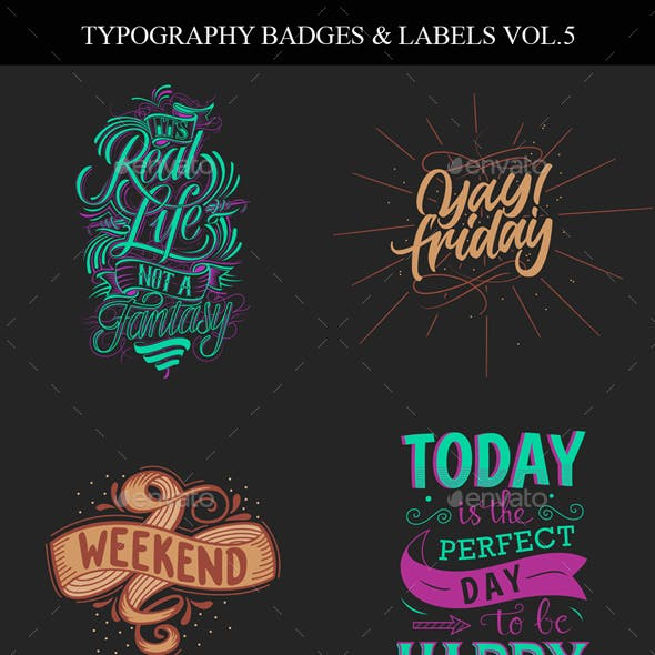 Typography Badges And Labels Vol.5