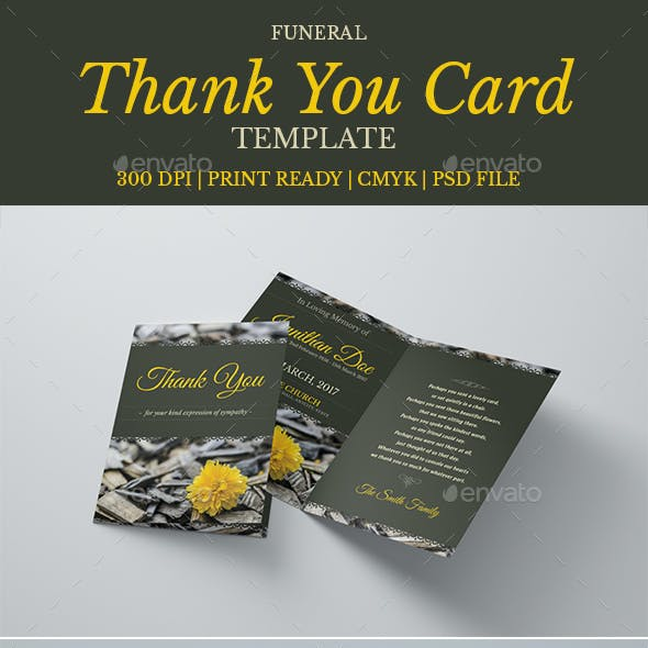 Funeral Program Thank You Card Template 06