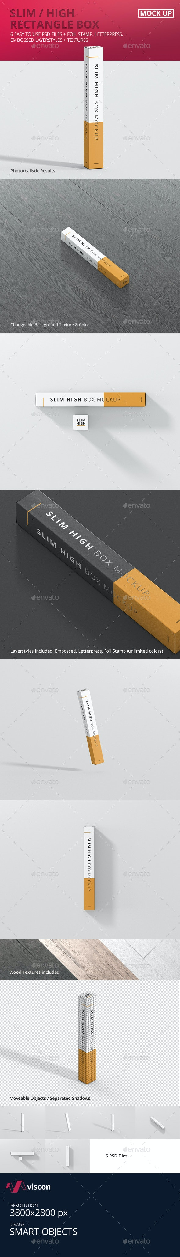 Box Mockup - Slim High Rectangle - Miscellaneous Packaging