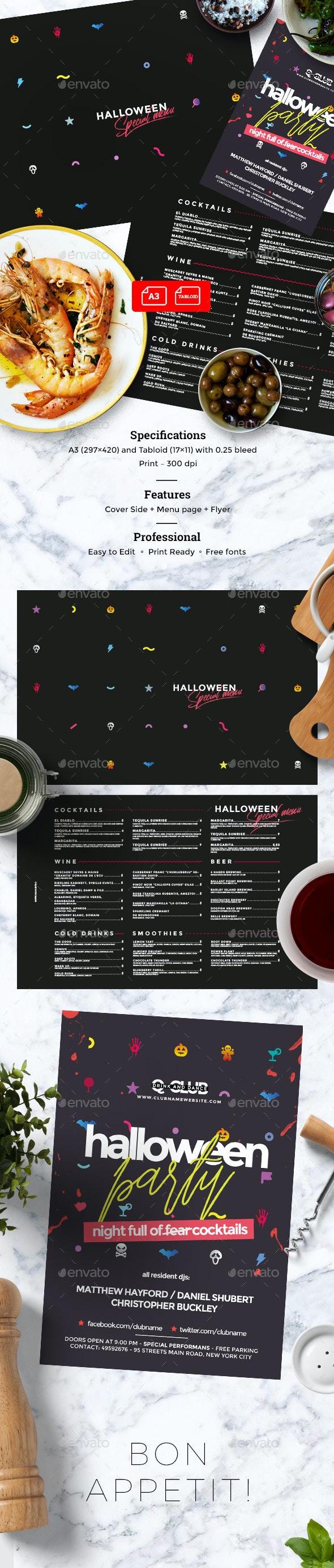 Halloween Menu - Food Menus Print Templates