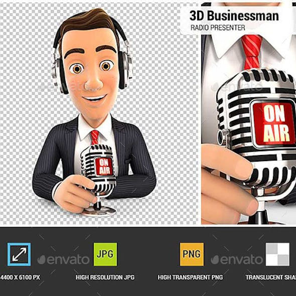 3D Businessman Radio Presenter on Air