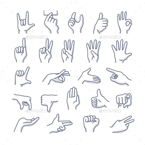 Hands Gestures Doodle Icons