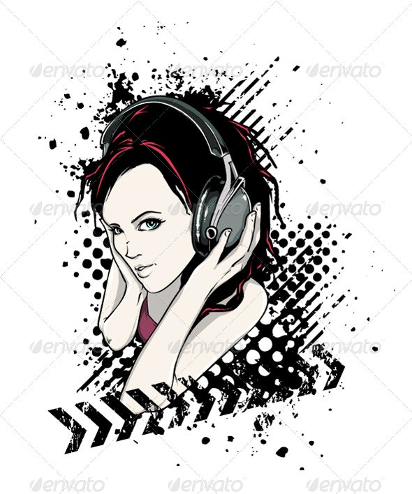 Grunge girl with headphones  - People Characters
