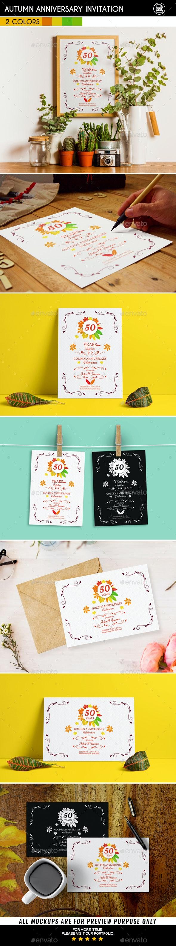 Autumn Anniversary Invitation - Anniversary Greeting Cards