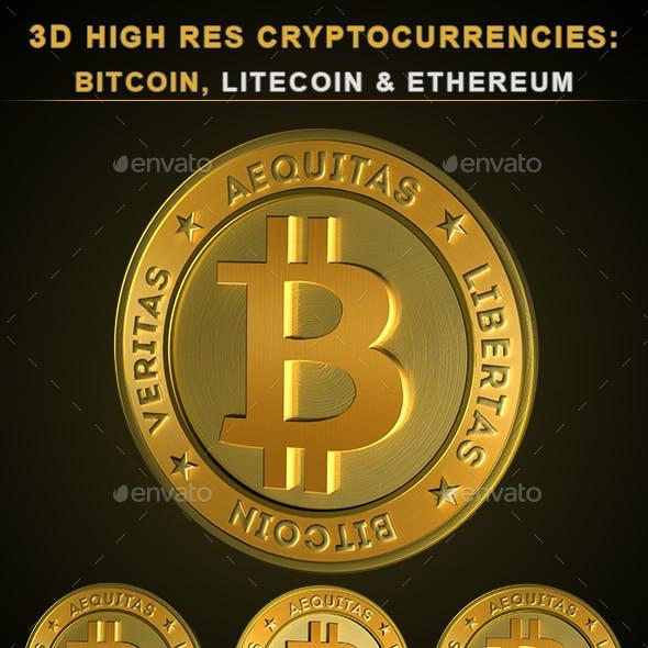 3D Cryptocurrencies: Bitcoin, Litecoin & Ethereum