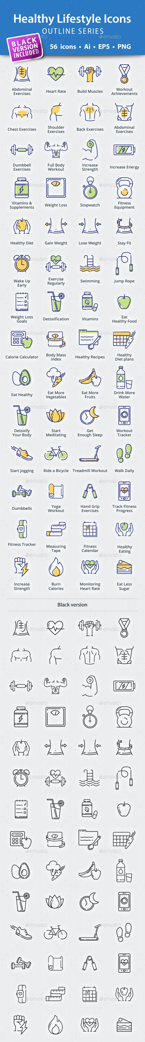 Healthy Lifestyle Icons - Outline Series - Web Icons