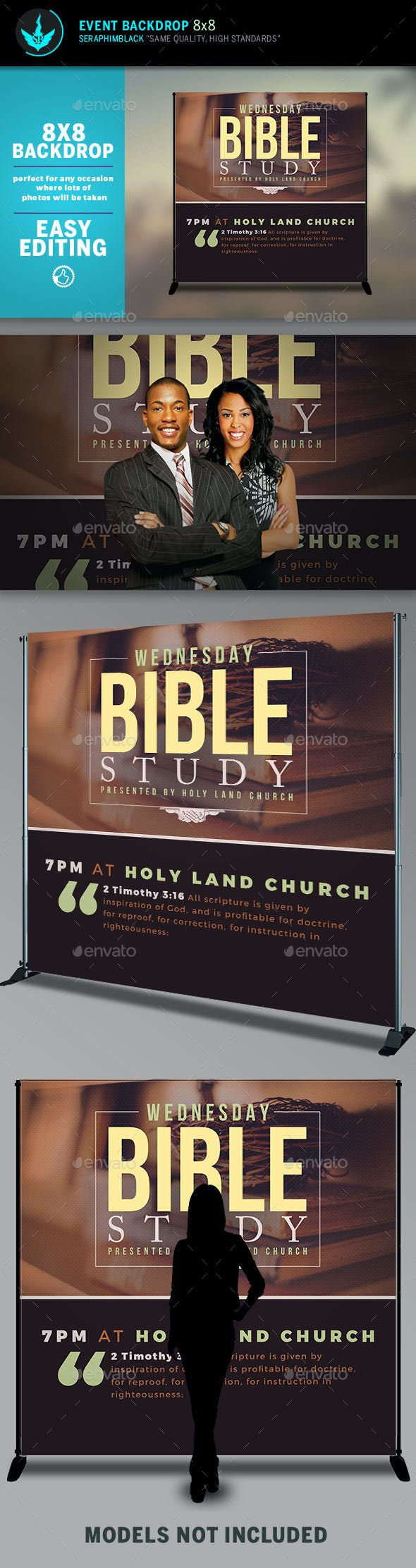 Bible Study 8x8 Event  Backdrop Template