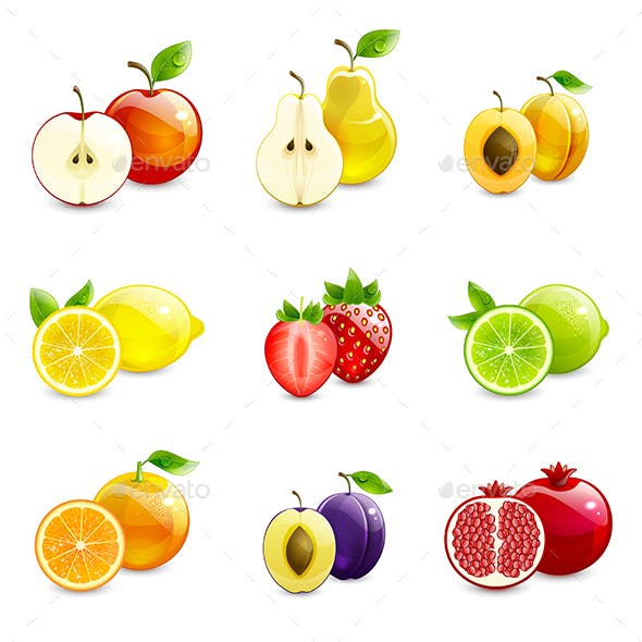 Set of Bright Fruits and Their Halves