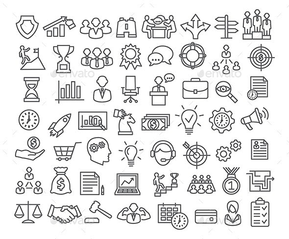 Business icons set in line style - Business Icons