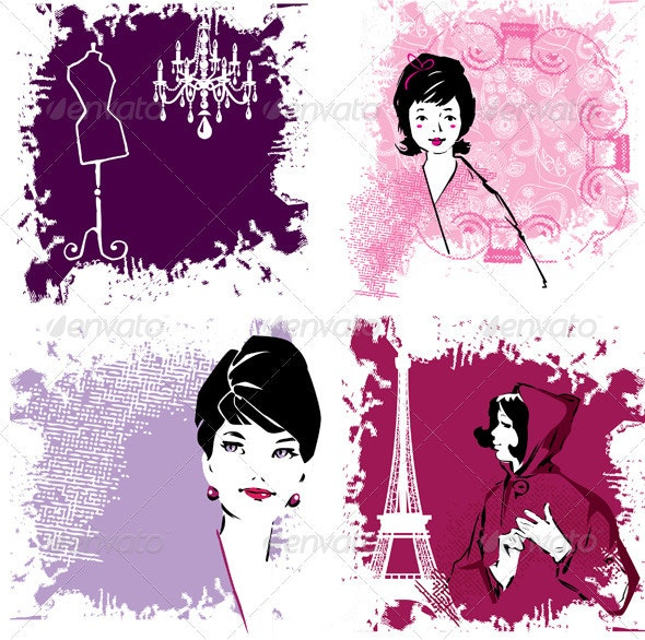 Set of Fashion Woman Image Retro Cards - People Characters