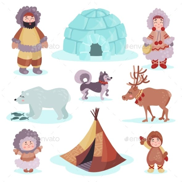 People in Traditional Eskimos Costume and Arctic