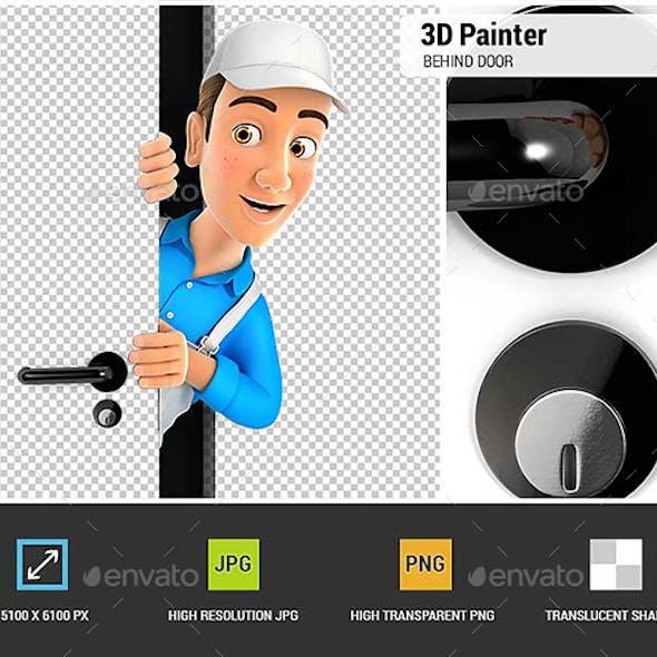3D Painter Peeking Behind a Door