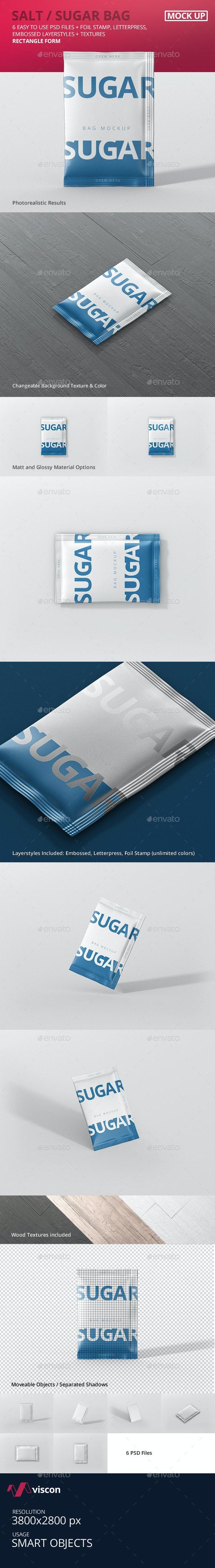 Salt / Sugar Bag Mockup - Rectangle - Food and Drink Packaging