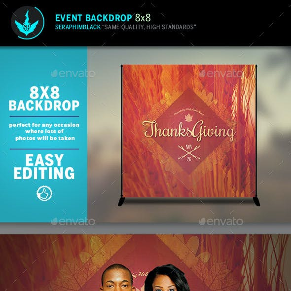 Thanksgiving 8x8 Event Backdrop Template