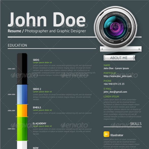 Simple vector template for photographer resume