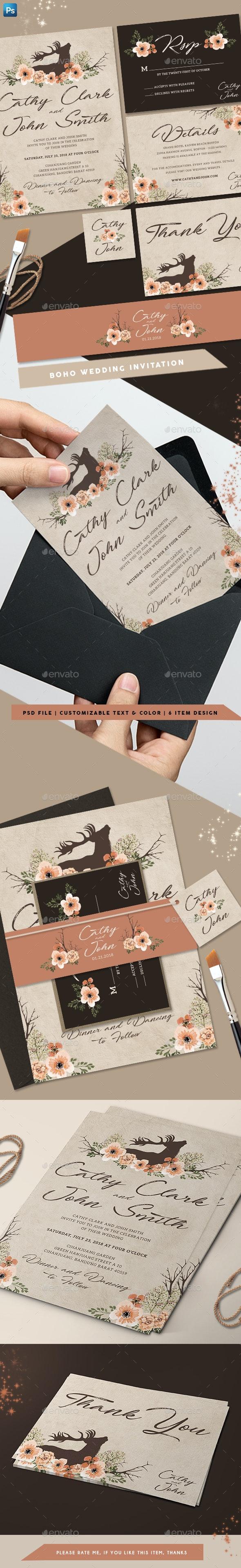 Boho Wedding Invitation - Weddings Cards & Invites
