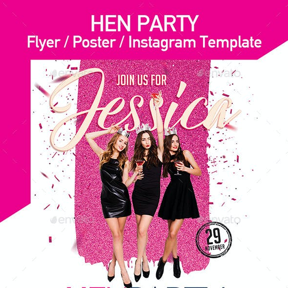 Hen Party Flyer, Invitation, Poster - Set of 3 Templates