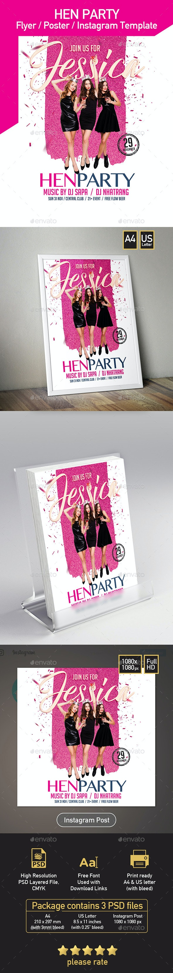 Hen Party Flyer, Invitation, Poster - Set of 3 Templates - Flyers Print Templates