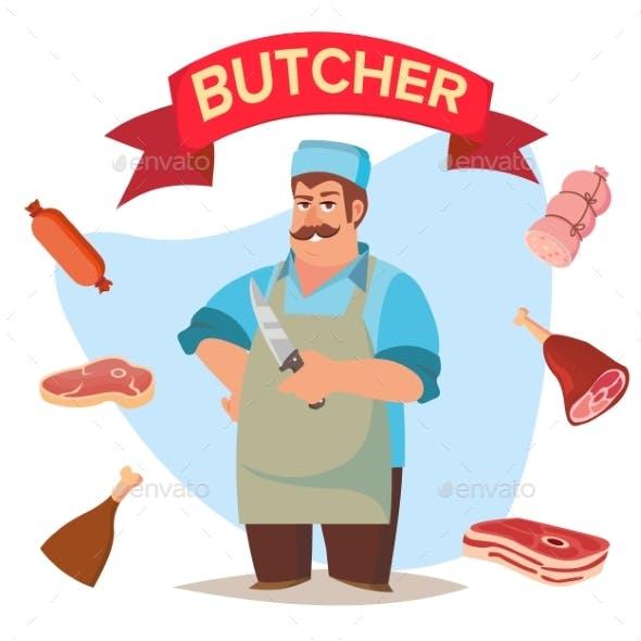 Professional Butcher Vector