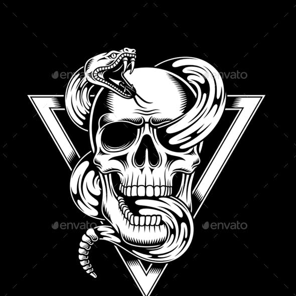 Skull with Rattle Snake Vector Illustration