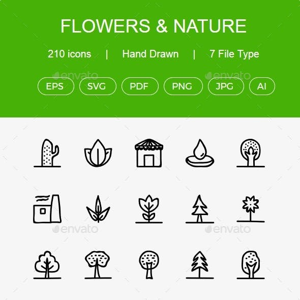 Flowers, Parks, Nature, Plants, Trees Hand Drawn