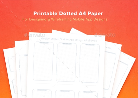 Printable Dotted A4 Paper with Bezel Less Smartphone - Miscellaneous Print Templates