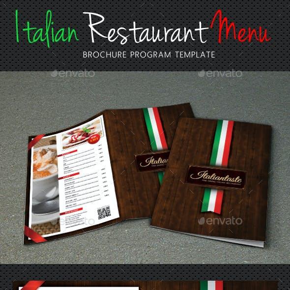 Italian Menu Restaurant Brochure