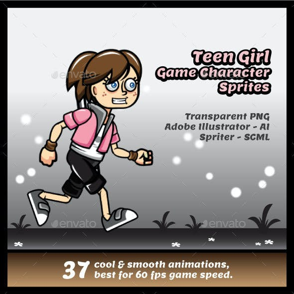 Teen Girl Game Character Sprites
