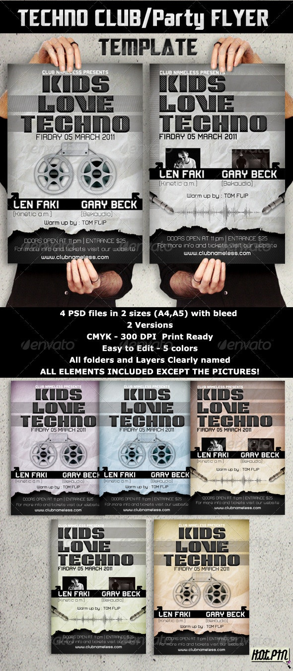 Techno Party/Club Flyers template - Clubs & Parties Events