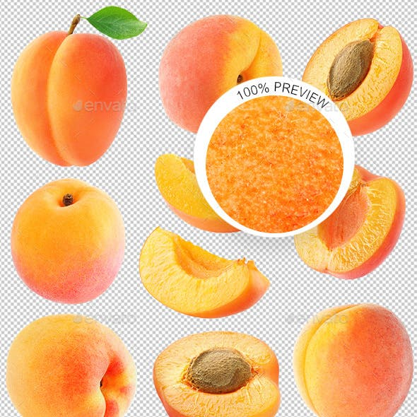 Collection of Isolated Apricots