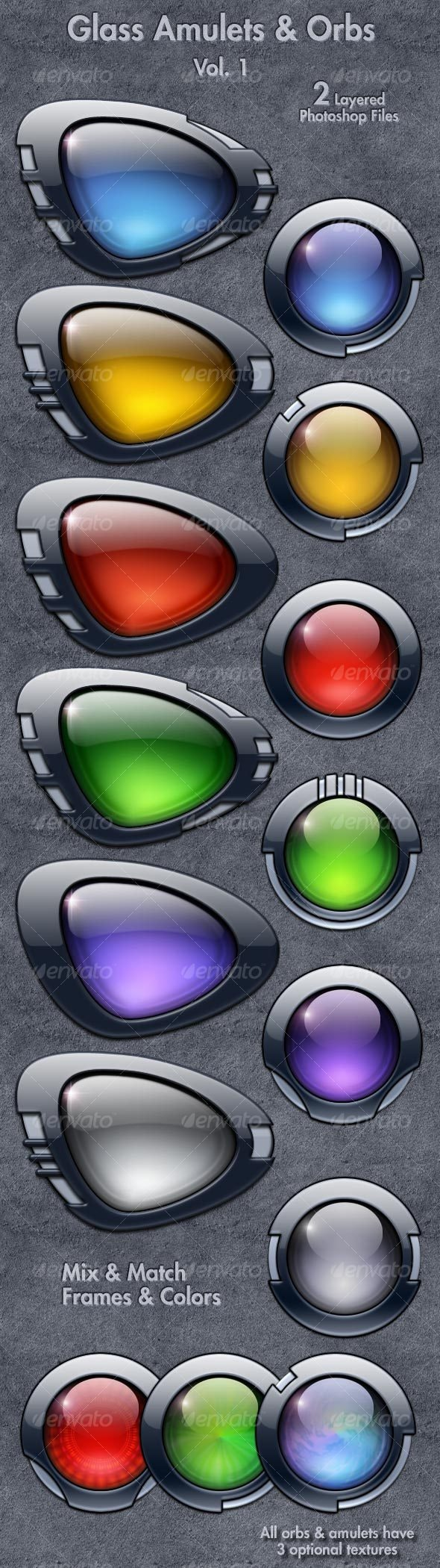 Glass Amulets & Orbs Vol. 1 - Web Icons