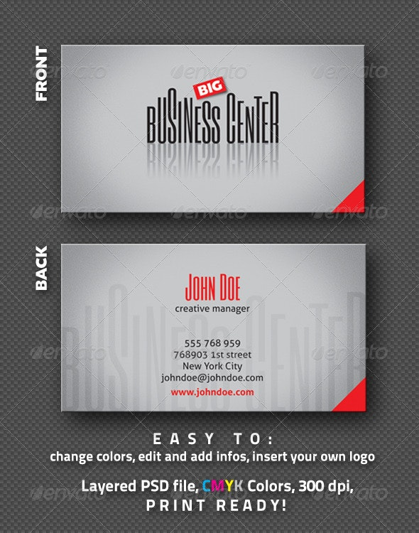 BIG Business Center - Business Card - Corporate Business Cards