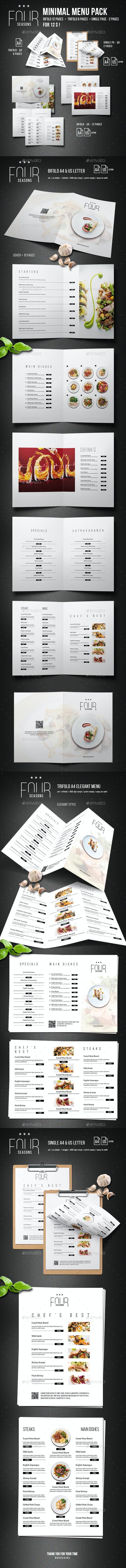 Four Seasons Minimal Menu Bundle - Food Menus Print Templates