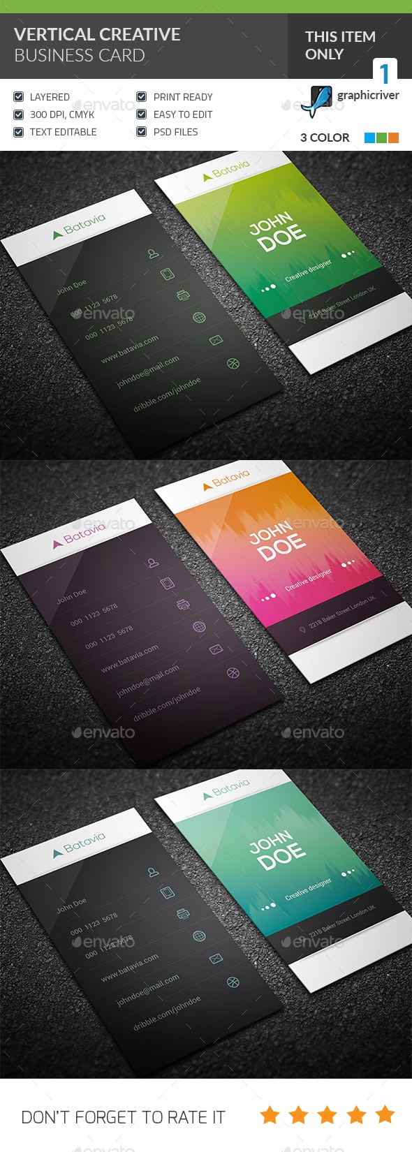 Vertical Creative Business Card - Creative Business Cards