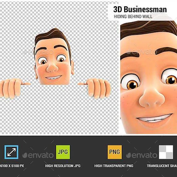 3D Businessman Hiding Behind White Wall